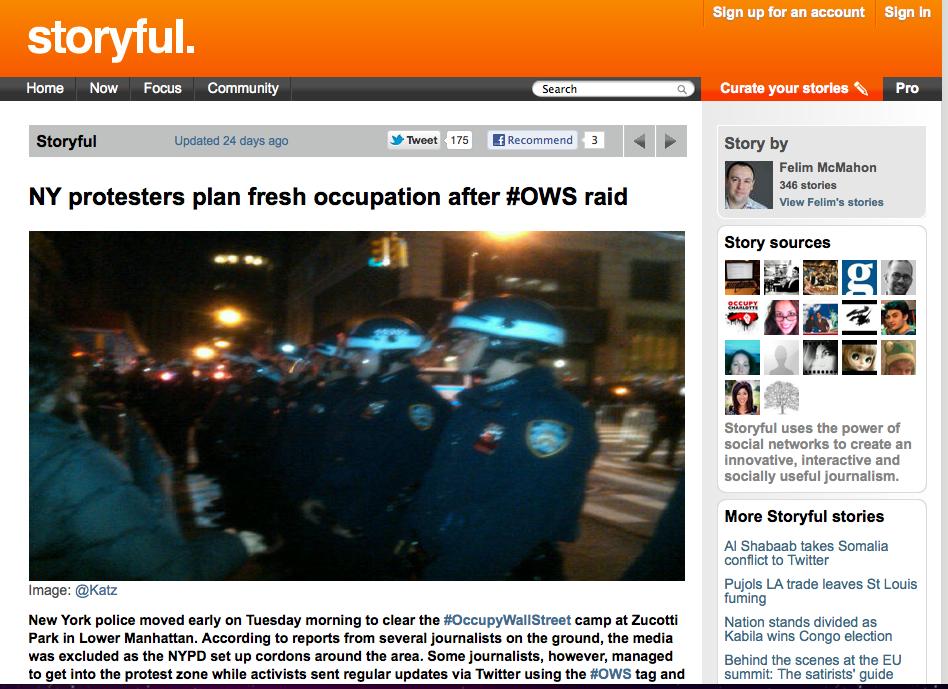 Screen shot of storyful coverage of the Nov. 14, 2011 police raid on Zucotti park